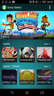 Sony Select offers some games from the Google Play Store.