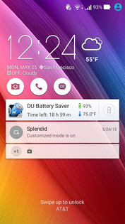 Asus Lock screen with notifications and shortcuts