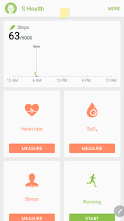 S Health with heart rate and Sp02 monitoring