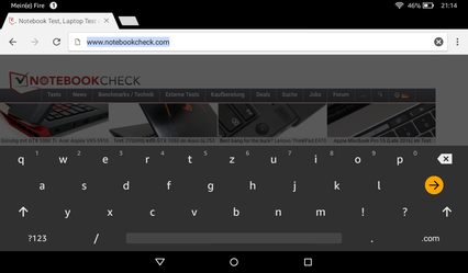 Onsceen keyboard, landscape mode