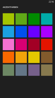 There are many colors to choose from for the tile design of Windows Phone 8.
