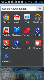 A large collection of Google apps is preinstalled.