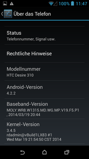 The now somewhat older Android 4.2.2 powers HTC's Desire 310.