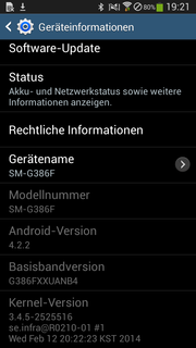 Samsung's Galaxy Core LTE SM-G386F is powered by Android 4.2.2.