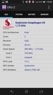 With the Qualcomm Snapdragon S4 MSM8960T the Xperia SP features a high-end SoC.