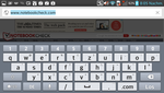 The virtual keyboard in landscape mode.