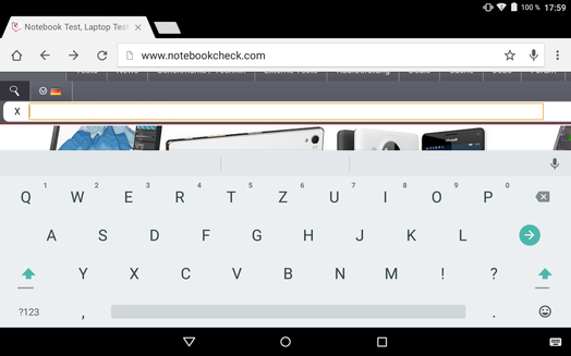 The virtual keyboard in landscape mode...