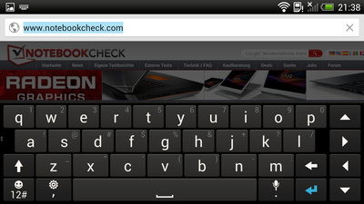 The keyboard occupies a lot of space in landscape mode.