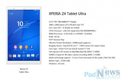Sony Xperia Z4 Tablet Ultra specs leak reveals 4K screen and 6 GB RAM