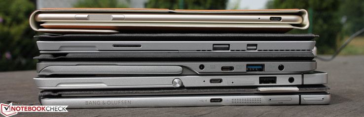 Huawei MateBook, Surface Pro 4, Switch Alpha 12, Elite x2 1012, Spectre x2 12 (top to bottom)