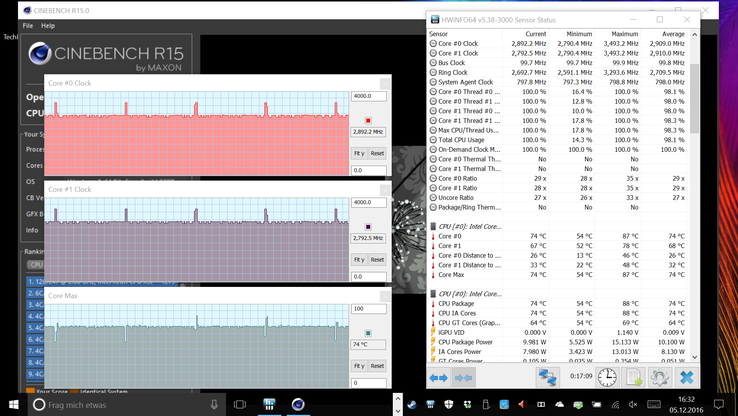 Observed clock speeds during the Cinebench test