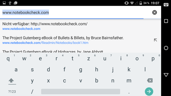 Onscreen keyboard (landscape mode)