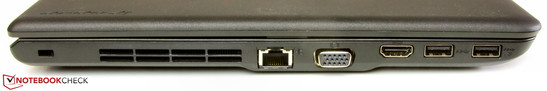 Left side: slot for a Kensington lock, Ethernet, VGA, HDMI, 2x USB 3.0