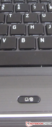 The switch for the touchpad is located beneath the keyboard.