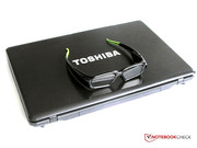 Toshiba notebook with 3D shutter glasses.