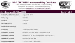 Toshiba AT10-B Android tablet gets WiFi certification
