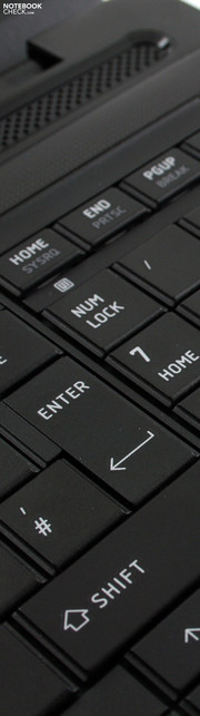 Toshiba Satellite Pro L670-170: The well organized input devices are let down by the vague feedback provided by the keyboard.