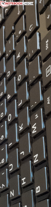 The keyboard largely corresponds with the layout of a desktop keyboard.