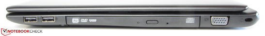 Right side: 2x USB 2.0, DVD-RW drive, VGA, Kensington lock slot