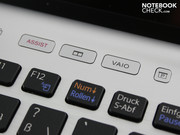 The special function buttons initiate Vaio Care (assist) or personally defined actions (mute, brightness, programs, etc.).