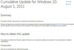 Microsoft update notes for Windows update KB3081424