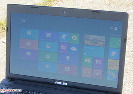 The Asus X55U outdoors.