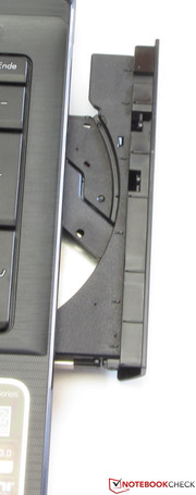 The DVD-RW drive handles all types of media.