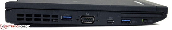 Left: USB 3.0, VGA, Mini-DisplayPort, USB 3.0, ExpressCard/54, Wireless switch