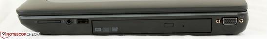 راست: خواننده SD، 3.5 میلی متری سوکت صوتی، 1x USB 3.0، درایو نوری، VGA-out
