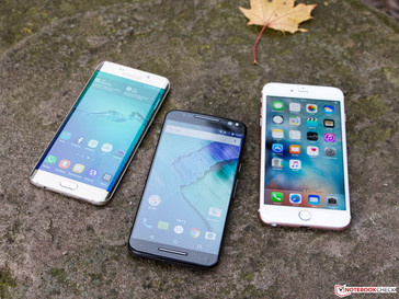 Left to right: Galaxy S6 edge+, Moto X Style, iPhone 6s Plus