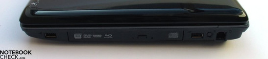 Right side: USB 2.0, Blu-Ray LW, USB, modem