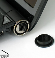 The power connector and the Kensington lock are placed near the display hinges.