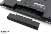 The battery slots conveniently into the back of the laptop.