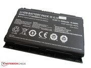 The battery has an impressive capacity of 77 Wh.