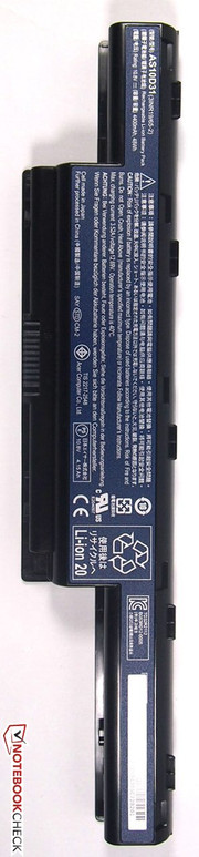 The lithium ion battery has a capacity of 44 Wh.