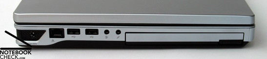 Left Side: power supply, LAN, 2x USB 2.0, audio ports (microphone, earphones), DVD drive