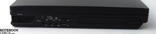 Left Side: Power Connector, TOSlink, S-Video, Antenna, 3.5mm Audio Ports, 3xUSB 2.0, Blu-Ray Drive