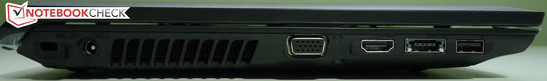 Left side: Kensington Lock, power outlet, VGA, HDMI, 1x e-SATA/USB 2.0 combi, 1x USB 2.0