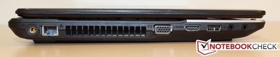Left: Power socket, GBit LAN, VGA, HDMI, USB 2.0, headphone and microphone jack