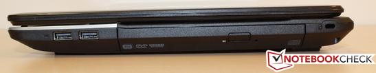 Right: 2x USB 2.0, DVD drive, Kensington lock