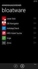 The stored apps are listed in the directory, and can be sorted as desired.