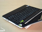 While the netbook is kept in white on the outsides, the device is completely black on the inside.