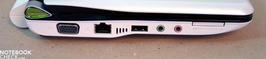 Left side: VGA, LAN, USB, audio ports, Multi-Cardreader