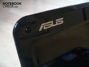Asus lettering on the left upper corner of the display border