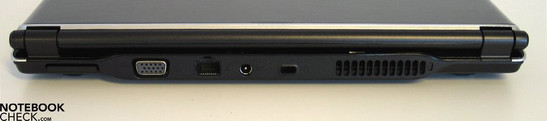 Back Side: SD card reader, VGA, LAN, power socket, Kensington lock