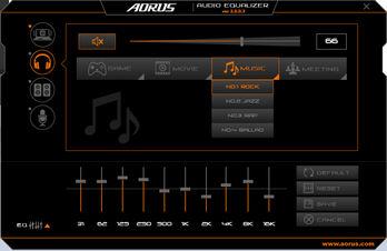 Aorus Audio with equalizer and preset settings