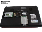 The case tray in an opened state. The components look comparably small due to the X500's vast size