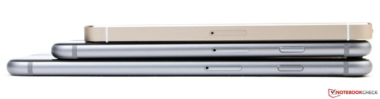 From top: iPhone 5s, iPhone 6 and iPhone 6 Plus