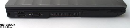 Left Side: Kensington Lock, 2x USB 2.0 / eSATA, VGA-Out, ExpressCard, SD Cardreader