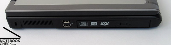 Left Side: Kensington Lock, 2xUSB, DVD Drive